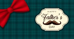 Fathers Day banner of plaid  background and bow royalty free stock image