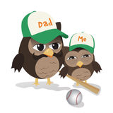 Fathers day baseball owl. Cute illustration of father and kid owl ready for baseball play Stock Photo