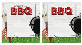 Fathers Day BBQ Invitation. On wood background with fork barbecue grass backyard vintage look royalty free illustration