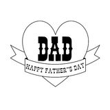 Fathers day black outline heart banner Stock Images