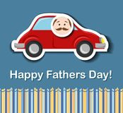 Fathers day card with cartoon car. And father head sticker eps10 Stock Photography