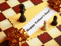 Fathers Day Card on Chessboard - Stock Photo Stock Photo