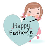 Fathers day card cute girl holding heart vector Royalty Free Stock Photography