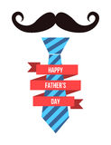 Fathers day card design with mustache and tie Royalty Free Stock Photography