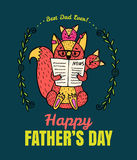 Fathers Day card with fox character family. Stock Photos
