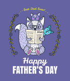 Fathers Day card with fox character family. Royalty Free Stock Image
