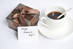 Fathers Day card with gift. And a cup of coffee Royalty Free Stock Photography