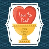 Fathers day card with heart and prize cup decoration. Vector illustration Stock Photos