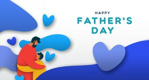 Fathers Day card of paper cut dad hugging child stock photography