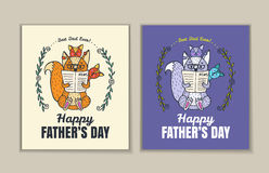 Fathers Day card set with fox character family. Royalty Free Stock Images