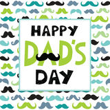 Fathers day card text frame mustaches pattern Royalty Free Stock Photography