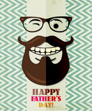 Fathers day card in vintage style. Retro poster. Hipster. Daddy. Male. Stock Photo