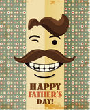 Fathers day card in vintage style. Retro poster. Hipster. Daddy. Male. Stock Photography