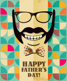Fathers day card in vintage style. Retro poster. Hipster. Daddy. Male. Stock Photos