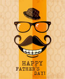 Fathers day card in vintage style. Retro poster. Hipster. Daddy. Male. Stock Image