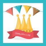 Fathers day celebration with party flags and ribbon. Vector illustration Stock Photos