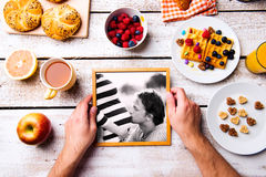 Fathers day composition. Black-and-white photo, breakfast meal Royalty Free Stock Photography