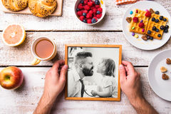 Fathers day composition. Black-and-white photo, breakfast meal Stock Photography
