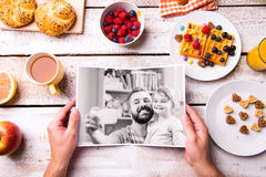 Fathers day composition. Black-and-white photo, breakfast meal Stock Image