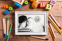 Fathers day composition. Black-and-white photo. Various toys. Royalty Free Stock Image