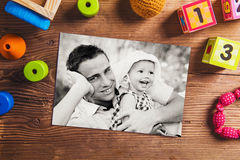 Fathers day composition. Black-and-white photo. Various toys. Stock Image