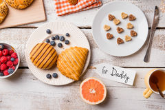 Fathers day composition. Breakfast meal. For Daddy tag. Studio s Stock Images