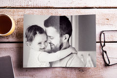 Fathers day composition. Picture of father holding his daughter Royalty Free Stock Images