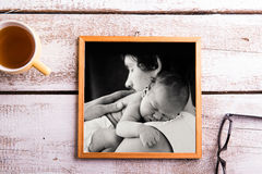 Fathers day composition. Picture of father holding his daughter Royalty Free Stock Photo