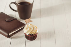 Fathers day concept. Delicious creative cupcake and cup of coffe Royalty Free Stock Photo