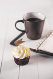 Fathers day concept. Delicious creative cupcake and cup of coffe Royalty Free Stock Photography