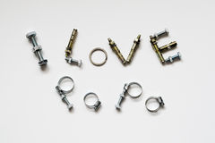 Fathers day concept - I Love Papa texts with bolts and nuts. On white background stock photos