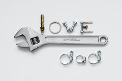 Fathers day concept - Love Dad texts with Adjustable wrench, bolts and nuts royalty free stock photo
