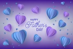 Fathers Day congratulation card with trendy blue and violet folded paper heart shapes on gradient background. Royalty Free Stock Image