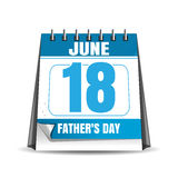 Fathers Day desk calendar 2017. Fathers Day 2017. Desk calendar isolated on white background. Fathers Day date in the calendar. 18 June. Vector illustration Royalty Free Stock Photography