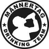 Fathers day drinking team stamp german. Vector stock illustration