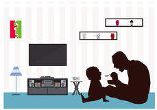Fathers day Eat Child silhouette Living-Room Stock Photography