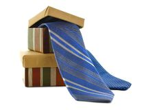 Fathers Day gift. Boxes and ties over white Royalty Free Stock Photos