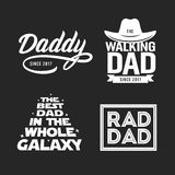 Fathers day gift for dad t-shirt design set. Vector vintage illustration. Fathers day gift for dad t-shirt design set. Funny quotes about daddy for prints Stock Photo