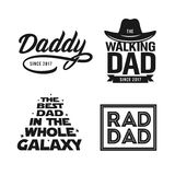 Fathers day gift for dad t-shirt design set. Vector vintage illustration. Fathers day gift for dad t-shirt design set. Funny quotes about daddy for prints Royalty Free Stock Photos