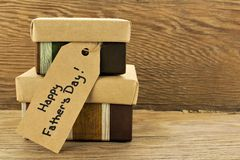 Fathers Day gifts on wood Royalty Free Stock Photography