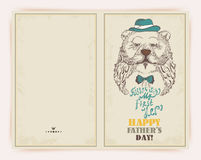 Fathers day greeting card with bear Royalty Free Stock Image