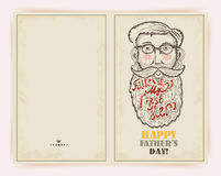 Fathers day greeting card in doodle design Royalty Free Stock Photo
