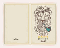 Fathers day greeting card in doodle design with lion. Fathers day hipster banner with stylish text 'Father is my first Hero' and lion Royalty Free Stock Photo
