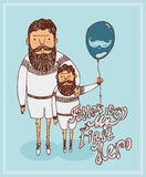 Fathers day greeting card with father and son. Dad and Son enjoying walk together with balloon on colorful decorated beige background for Happy Father's Day Royalty Free Stock Images
