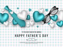 Fathers day greeting card. Paper cut style letters with 3d realistic tie, hearts, glasses and checkered pattern. Holiday background. Vector illustration Royalty Free Stock Photo