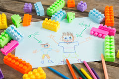 Fathers day greeting card with toy blocks on table royalty free stock photos
