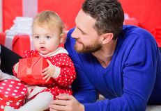 Fathers day holiday. Shopping online. Boxing day. Love and trust in family. Bearded man with little girl. Happy family. Fathers day holiday. Shopping online stock photos