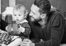 Fathers day holiday. Shopping online. Boxing day. Love and trust in family. Bearded man with little girl. Happy family stock photos