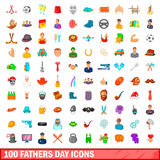 100 fathers day icons set, cartoon style Royalty Free Stock Photography