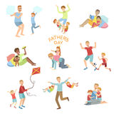 Fathers Day Illustration Set Of Dads Playing With Kids Stock Image